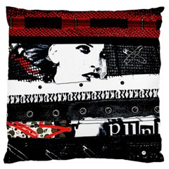 Punk Chick Large Flano Cushion Case (two Sides)