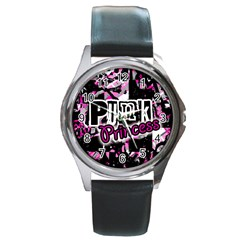Punk Princess Round Leather Watch (silver Rim)