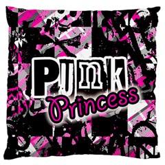 Punk Princess Large Flano Cushion Case (one Side)