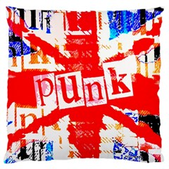 Punk Union Jack Large Flano Cushion Case (two Sides)