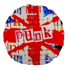 Punk Union Jack Large 18  Premium Flano Round Cushion