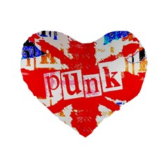 Punk Union Jack Standard 16  Premium Flano Heart Shape Cushion