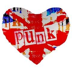 Punk Union Jack Large 19  Premium Flano Heart Shape Cushion
