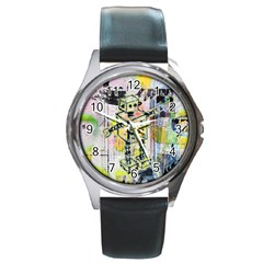 Graffiti Graphic Robot Round Leather Watch (silver Rim)