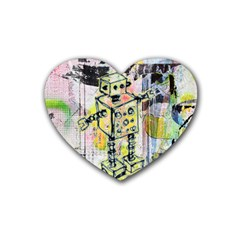 Graffiti Graphic Robot Drink Coasters 4 Pack (heart)