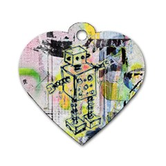 Graffiti Graphic Robot Dog Tag Heart (one Sided)