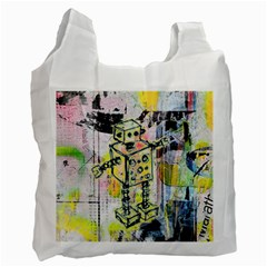 Graffiti Graphic Robot White Reusable Bag (one Side)