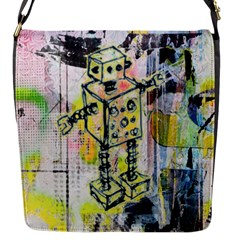 Graffiti Graphic Robot Flap Closure Messenger Bag (small)