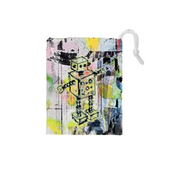 Graffiti Graphic Robot Drawstring Pouch (Small)