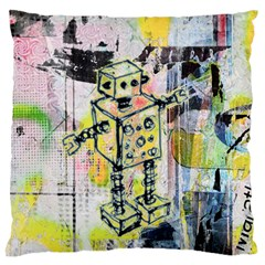 Graffiti Graphic Robot Large Flano Cushion Case (One Side)