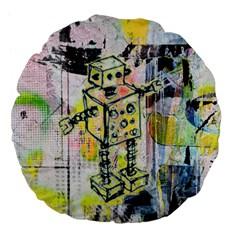 Graffiti Graphic Robot Large 18  Premium Flano Round Cushion