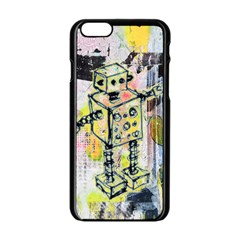 Graffiti Graphic Robot Apple Iphone 6 Black Enamel Case