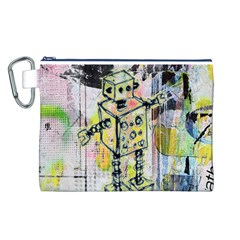 Graffiti Graphic Robot Canvas Cosmetic Bag (Large)