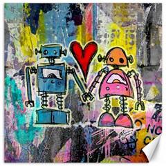 Graffiti Pop Robot Love Canvas 16  X 16  (unframed)