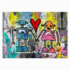 Graffiti Pop Robot Love Glasses Cloth (large, Two Sided)