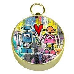 Graffiti Pop Robot Love Gold Compass