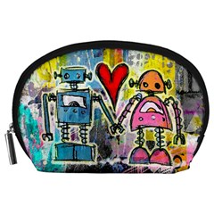 Graffiti Pop Robot Love Accessory Pouch (Large)