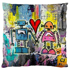 Graffiti Pop Robot Love Large Flano Cushion Case (One Side)