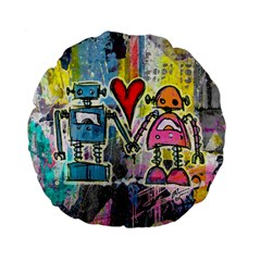 Graffiti Pop Robot Love Standard 15  Premium Flano Round Cushion
