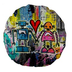 Graffiti Pop Robot Love Large 18  Premium Flano Round Cushion