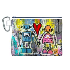Graffiti Pop Robot Love Canvas Cosmetic Bag (Large)