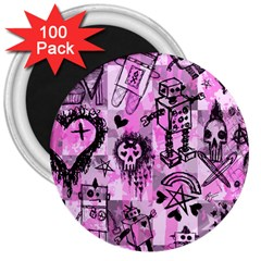 Pink Scene Kid Sketches 3  Button Magnet (100 Pack)