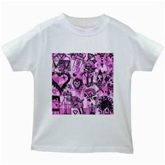 Pink Scene Kid Sketches Kids T-shirt (White)