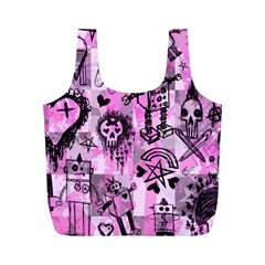 Pink Scene Kid Sketches Reusable Bag (m)