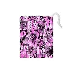 Pink Scene Kid Sketches Drawstring Pouch (Small)