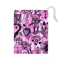 Pink Scene Kid Sketches Drawstring Pouch (Large)