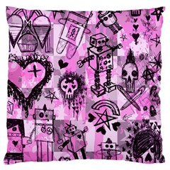 Pink Scene Kid Sketches Large Flano Cushion Case (One Side)