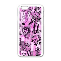 Pink Scene Kid Sketches Apple iPhone 6 White Enamel Case