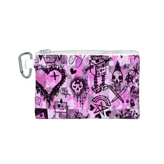 Pink Scene Kid Sketches Canvas Cosmetic Bag (Small)