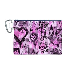 Pink Scene Kid Sketches Canvas Cosmetic Bag (Medium)