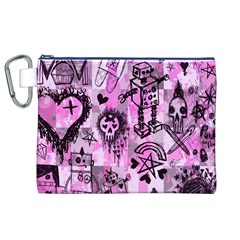 Pink Scene Kid Sketches Canvas Cosmetic Bag (xl)