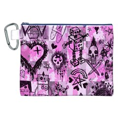 Pink Scene Kid Sketches Canvas Cosmetic Bag (XXL)