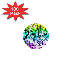 Rainbow Scene Kid Sketches 1  Mini Button Magnet (100 Pack)