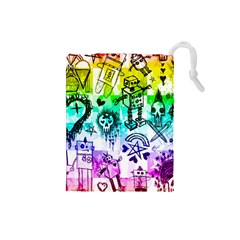 Rainbow Scene Kid Sketches Drawstring Pouch (Small)