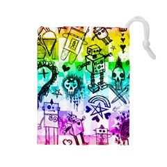 Rainbow Scene Kid Sketches Drawstring Pouch (Large)