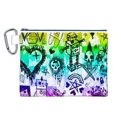 Rainbow Scene Kid Sketches Canvas Cosmetic Bag (Large)