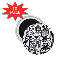 Robot Crowd 1 75  Button Magnet (10 Pack)