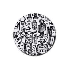 Robot Crowd Drink Coasters 4 Pack (round)