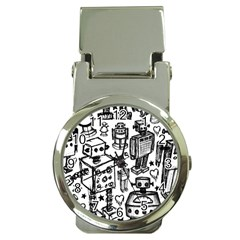 Robot Crowd Money Clip With Watch