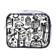 Robot Crowd Mini Travel Toiletry Bag (one Side)