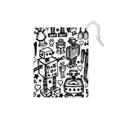 Robot Crowd Drawstring Pouch (Small)