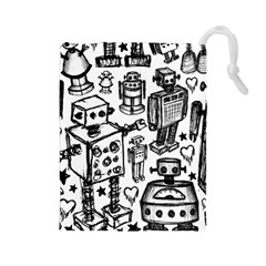 Robot Crowd Drawstring Pouch (Large)
