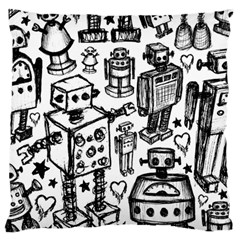 Robot Crowd Large Flano Cushion Case (One Side)