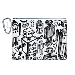 Robot Crowd Canvas Cosmetic Bag (Large)