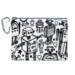 Robot Crowd Canvas Cosmetic Bag (XL)