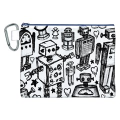 Robot Crowd Canvas Cosmetic Bag (XXL)